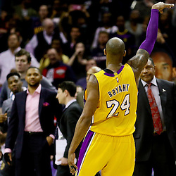 Feb 4, 2016; New Orleans, LA, USA; Los Angeles Lakers forward Kobe Bryant (24) gestures after hitting on a three point basket during the fourth quarter of a game against the New Orleans Pelicans at the Smoothie King Center. The Lakers defeated the Pelicans 99-96. Mandatory Credit: Derick E. Hingle-USA TODAY Sports