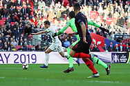 England's Harry Kane through on goal during the UEFA Nations League match between England and Croatia at Wembley Stadium, London, England on 18 November 2018.