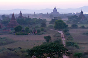 Bagan, Myanmar, also known as Burma. The Bagan (also spelled Pagan) Plain on the banks of Irrawaddy River in central Myanmar, is the largest area of Buddhist temples, pagodas, stupas and ruins in the world. More than 2,200 remain today, many dating from the 11th and 12 centuries..