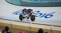 20160911 Copyright onEdition 2016©<br /> Free for editorial use image, please credit: onEdition<br /> <br /> Cyclist Lora Turnham (Tandem B) from Liverpool, competing for ParalympicsGB at the Rio Paralympic Games 2016.<br />  <br /> ParalympicsGB is the name for the Great Britain and Northern Ireland Paralympic Team that competes at the summer and winter Paralympic Games. The Team is selected and managed by the British Paralympic Association, in conjunction with the national governing bodies, and is made up of the best sportsmen and women who compete in the 22 summer and 4 winter sports on the Paralympic Programme.<br /> <br /> For additional Images please visit: http://www.w-w-i.com/paralympicsgb_2016/<br /> <br /> For more information please contact the press office via press@paralympics.org.uk or on +44 (0) 7717 587 055<br /> <br /> If you require a higher resolution image or you have any other onEdition photographic enquiries, please contact onEdition on 0845 900 2 900 or email info@onEdition.com<br /> This image is copyright onEdition 2016©.<br /> <br /> This image has been supplied by onEdition and must be credited onEdition. The author is asserting his full Moral rights in relation to the publication of this image. Rights for onward transmission of any image or file is not granted or implied. Changing or deleting Copyright information is illegal as specified in the Copyright, Design and Patents Act 1988. If you are in any way unsure of your right to publish this image please contact onEdition on 0845 900 2 900 or email info@onEdition.com