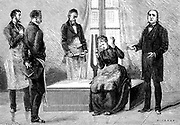 Jean Martin Charcot (1825-1903) French neurologist and pathologist, on right, demonstrating production of hypnosis using the sound from a large tuning fork. Picture drawn from life at the Salpetriere Hospital, Paris. Freud heard of posthypnotic suggestion from Charcot. Engraving from 'La Nature', Paris, 1879.