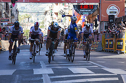 March 23, 2019 - Sanremo, Sanremo, Italy - Julian Alaphilippe (Deceuninck - Quick-Step), Oliver Naesen (AG2R La Mondiale), Michal Kwiatkowski (Team Sky), seen in action during the 110th Milan-Sanremo 2019 a 291km run from Milan to Sanremo. (Credit Image: © Diego Puletto/SOPA Images via ZUMA Wire)