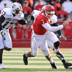 Oct 10, 2009; Piscataway, NJ, USA; Rutgers quarterback Tom Savage (7) scrambles for a first down during first half NCAA college football action between Rutgers and Texas Southern at Rutgers Stadium.