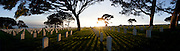 Sunset panorama over Fort Rosecrans Cemetery on Point Loma, San Diego, CA