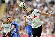 Tottenham's Jan Vertonghen (r) heads clear under pressure from Chelsea's Pedro (l). The Emirates FA Cup semi-final match, Chelsea v Tottenham Hotspur at Wembley Stadium in London on Saturday 22nd April 2017.<br /> pic by Carl Robertson,  Andrew Orchard sports photography.