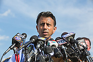 Gov. Bobby Jindal on scene at the The Grand 16 cinema in  Lafayette Louisiana, - After a rant about why now is not the right time to talk about gun control, in gory detail he described his walk through of the crime seen. It could have been his kids inside, he said.