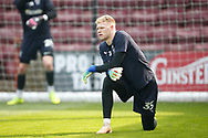Wimbledon Goalkeeper Aaron Ramsdale (35) warming up during the EFL Sky Bet League 1 match between Scunthorpe United and AFC Wimbledon at Glanford Park, Scunthorpe, England on 30 March 2019.