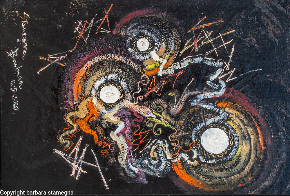 Dawning of creation sensation artwork abstract image in red, white, dark red, orange, light pink, yellow color shades with circles and concentric shapes, with bended and geometric lines and curls on black enamel irregular texture background, with nuances.