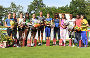 Nafi Thiam aka Nafissatou Thiam (BEL), center, poses with competitors after winning the heptathlon during the DecaStar meeting, Saturday, June 23, 2019, in Talence, France. Thiam won with 6,819 points. (Jiro Mochizuki/Image of Sport via AP)