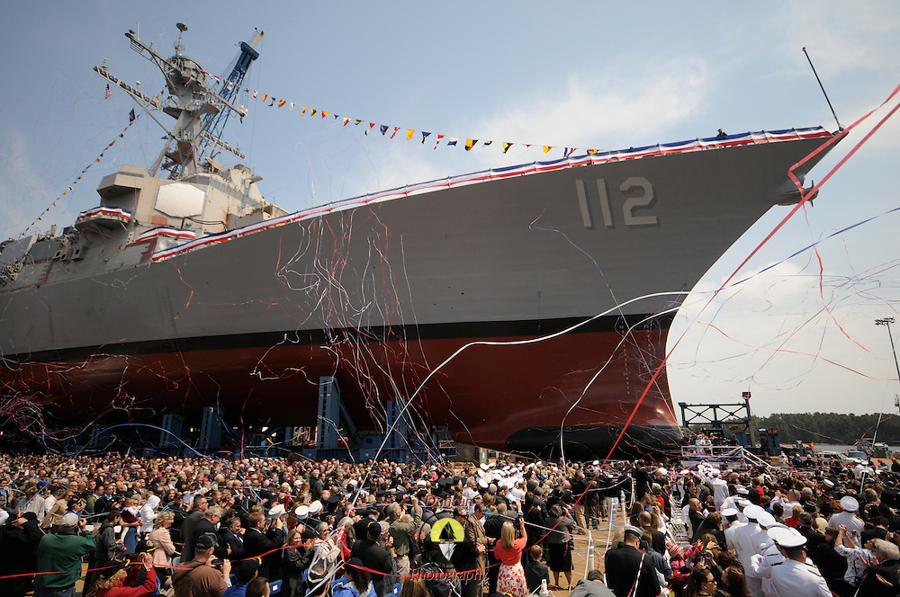 5/7/11 -- BATH, Maine. The U.S. Navy Destroyer Michael Murphy was Christened on Saturday at Bath Iron Works. The 509 foot ship, named for Lieutenant Michael Murphy, whose bravery under fire in Afghanistan in June, 2005 led to his posthumous receipt of the Medal of Honor, was Christened by his mother, Maureen Murphy, of New York. .The ceremony included speeches by Maine Governor Paul LePage, Chief of Naval Operations - Admiral Gary Roughead, Senator Olympia Snowe, Representatives Mike Michaud and Chellie Pingree as well as ship sponsor, Maureen and Dan Murphy, parents of Lieutenant Murphy. While the ship was not actually launched during the ceremony, it was rolled into the drydock and launched on Sunday morning at approximately 2:15 A.M in the Kennebec River.  Photo by Roger S. Duncan.