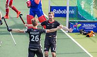 AMSTELVEEN - Constantin Staib (Dui)  juicht, na het doelpunt van Niklas Bosserhoff (Dui)  tijdens de wedstrijd heren, Duitsland-Wales (8-1) bij het  EK hockey . COPYRIGHT KOEN SUYK