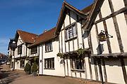 Historic Tudor architecture of the Swan Hotel, Lavenham, Suffolk, England, UK