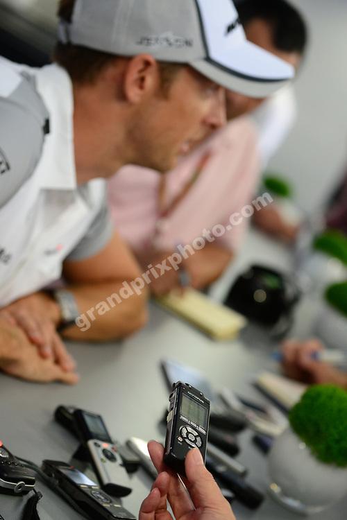 Jenson Button (McLaren-Mercedes) press conference before the 2014 Monaco Grand Prix. Photo: Grand Prix Photo
