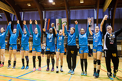 Players of RK Krim Mercator celebrate after the handball match between RK Krim Mercator and ZRK Z'Dezele Celje in Last Round of Slovenian National Championship 2016/17, on April 18, 2017 in Arena Galjevica, Ljubljana, Slovenia. Photo by Vid Ponikvar / Sportida