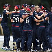 England celebrate victory with captain Charlotte Edwards (centre) after the dismissal of Rachel Priest during the match between England and New Zealand in the Super 6 stage of the ICC Women's World Cup Cricket tournament at Bankstown Oval, Sydney, Australia on March 14 2009, England won the match by 31 runs. Photo Tim Clayton
