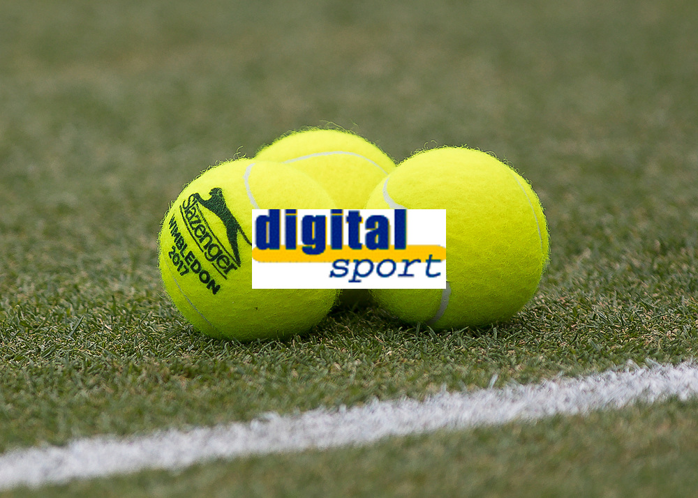 Tennis - 2017 Aegon Championships [Queen's Club Championship] - Day Four, Thursday <br /> <br /> Men's Singles: Round of 16 - Jordan THOMPSON (AUS) vs Sam QUERREY (USA)<br /> <br /> Tennis balls for the Wimbledon Championships are placed on the grass at Queens Club<br /> <br /> COLORSPORT/DANIEL BEARHAM