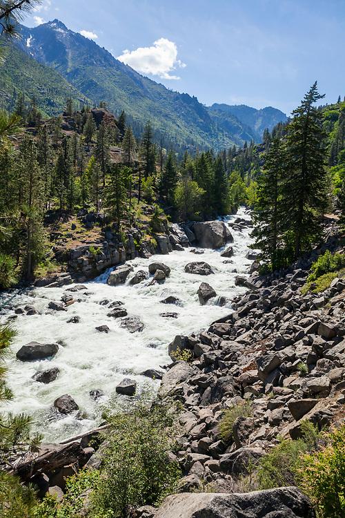 Icicle creek roaring down Icicle canyon in Spring, Washington Central Cascades, USA.Washington, USA.