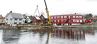 Footbridge set with crane behind Church Street at Perley Canal.  Karen Bobotas for the Laconia Daily Sun