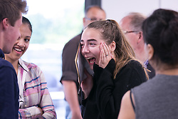 © Licensed to London News Pictures. 18/08/2016. Solihull School students receiving their A Level results earlier today. Pictured, Becky Timperley (18) who is off to Exeter after achieving 2 A's and an A Star. Photo credit: Dave Warren/LNP
