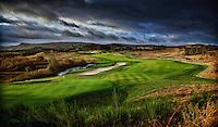 NOMINATIE  GOLFPERSPRIJS. <br /> GLENEAGLES SCHOTLAND - Hole 9 van PGA Centenary Course  van Gleneagles.  Er zijn drie golfbanen van Gleneagles.   COPYRIGHT KOEN SUYK