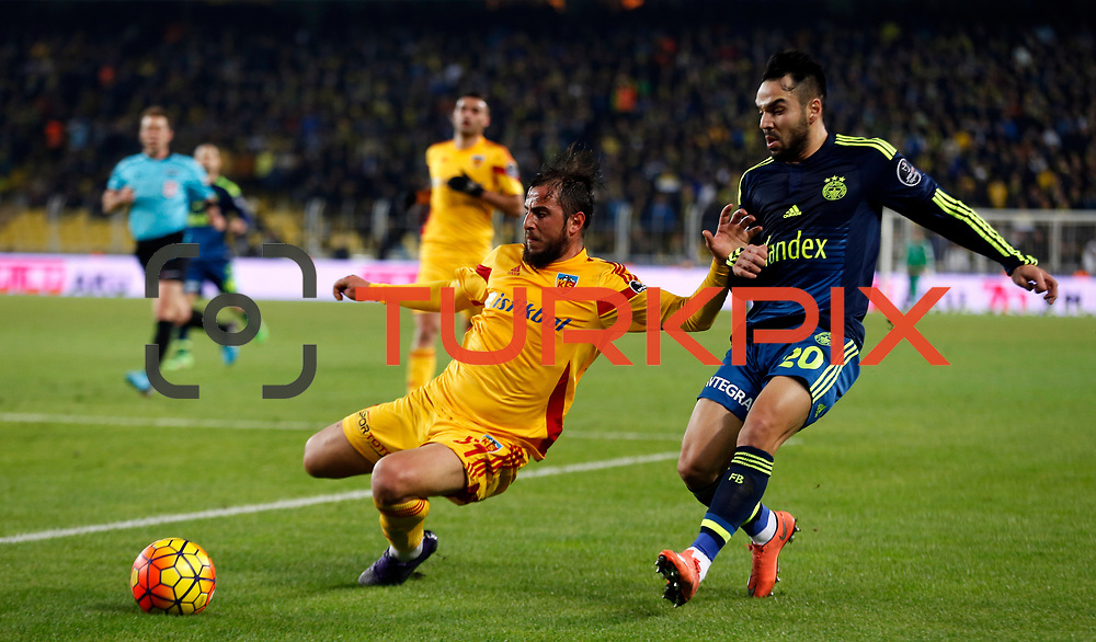 Fenerbahce's Volkan Sen (R) during their Turkish super league soccer match Fenerbahce between Kayserispor at the Sukru Saracaoglu stadium in Istanbul Turkey on Sunday 13 March 2016. Photo by TVPN/TURKPIX