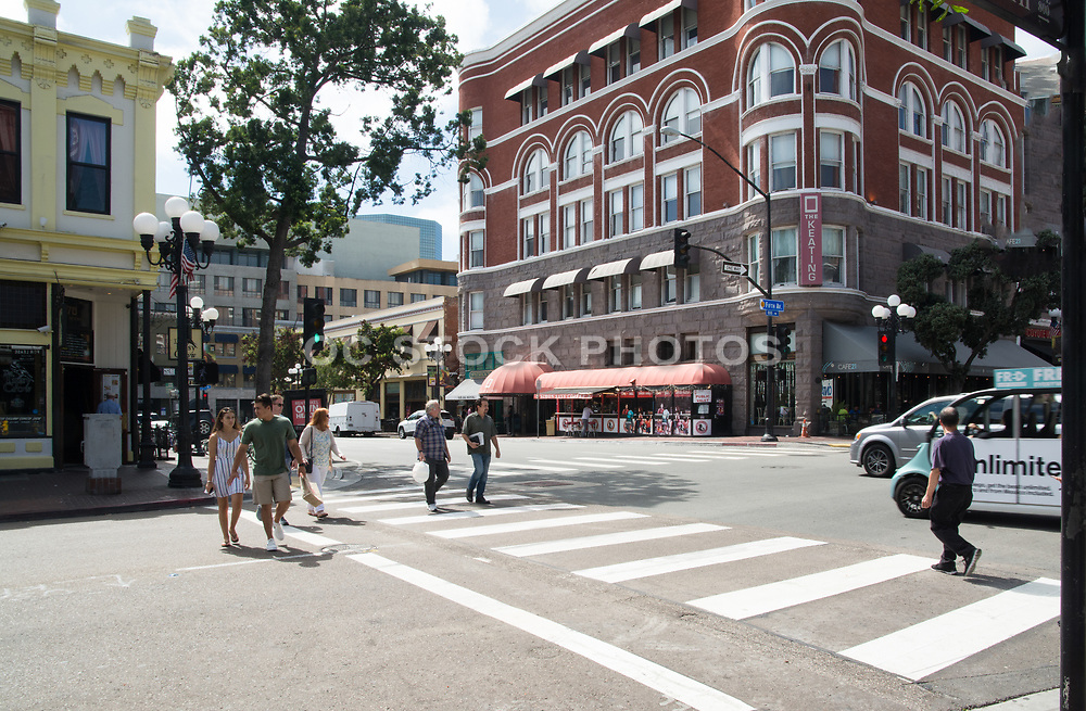 Tourists Walking Around The Gaslamp Quarter District In Downtown San Diego