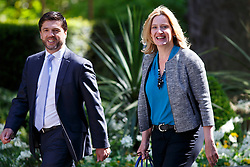© Licensed to London News Pictures. 12/05/2015. LONDON, UK. Wales Secretary Stephen Crabb and Energy and Climate Change Secretary Amber Rudd attending to the first Conservative cabinet meeting after the 2015 general election in Downing Street on Tuesday, 12 May 2015. Photo credit: Tolga Akmen/LNP