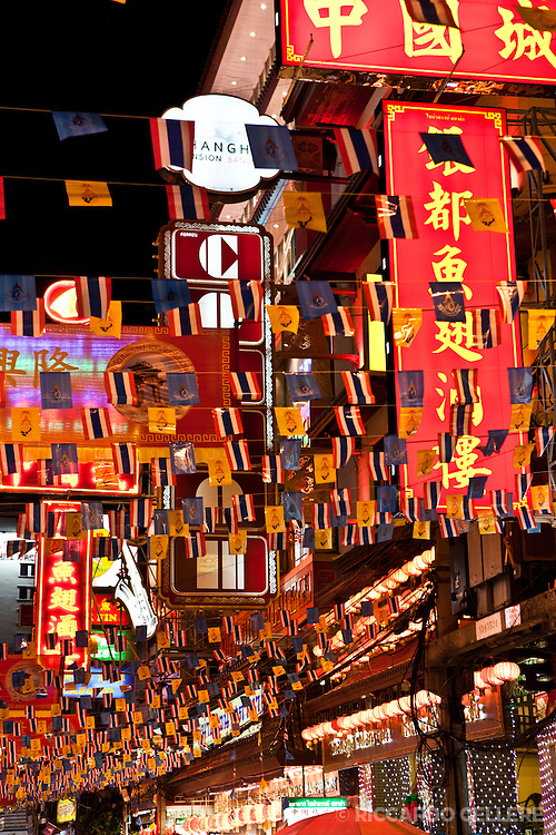 Flags decorate the streets of Bangkok's Chinatown during Chinese New Year