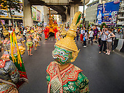 """14 JANUARY 2015 - BANGKOK, THAILAND:  The Thai monkey army, popular characters from Thai mythology, march during the 2015 Discover Thainess parade. The Tourism Authority of Thailand (TAT) sponsored the opening ceremony of the """"2015 Discover Thainess"""" Campaign with a 3.5-kilometre parade through central Bangkok. The parade featured cultural shows from several parts of Thailand. Part of the """"2015 Discover Thainess"""" campaign is a showcase of Thailand's culture and natural heritage and is divided into five categories that match the major regions of Thailand – Central Region, North, Northeast, East and South.    PHOTO BY JACK KURTZ"""