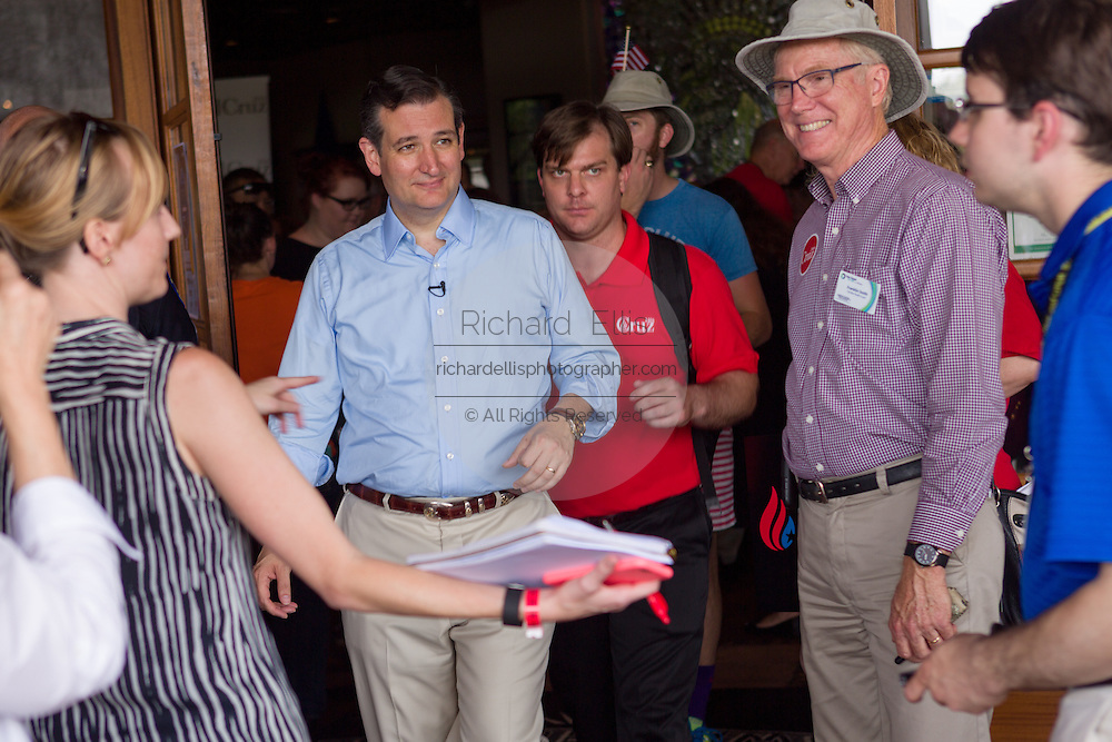 U.S. Senator Ted Cruz and GOP presidential candidate following a town hall meeting at the Liberty Tap Room restaurant August 7, 2015 in Mt Pleasant, South Carolina. The event was the kick off event of a seven-day bus tour called the Cruz Country Bus Tour of southern states.