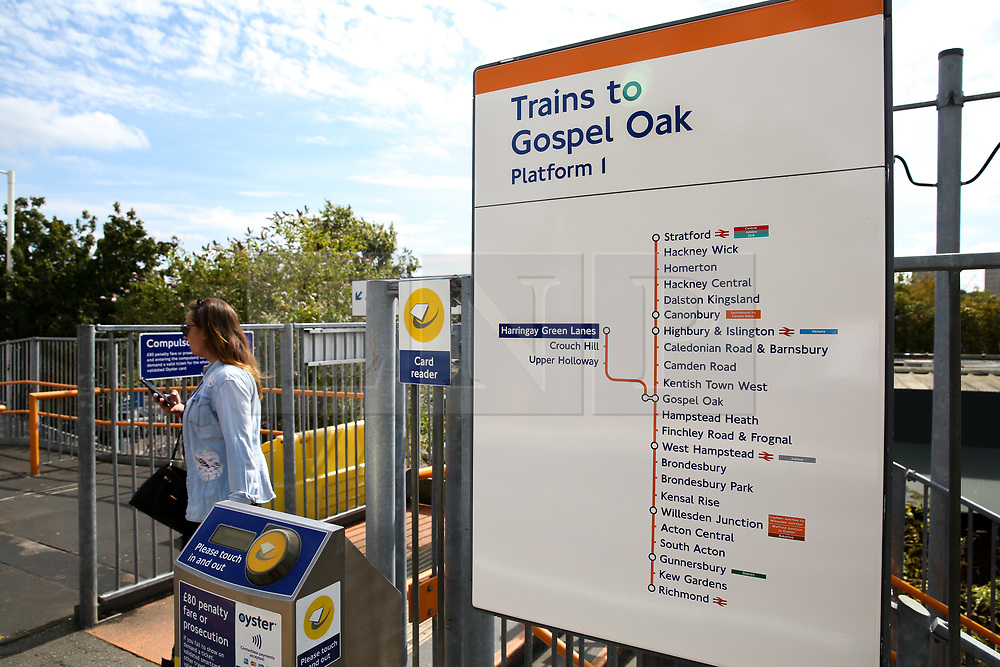 © Licensed to London News Pictures. 30/08/2019. London, UK. A passenger arrives at Harringay Green Lanes railway station in north London. London Overground's Gospel Oak to Barking line is exclusively operated by new four-car electric air-conditioned trains, doubling capacity, restoring a 15 minute frequency and bringing greater reliability to the service. To celebrate this milestone, the Mayor of London and Transport for London (TfL) are offering customers a month of free travel on the line from Saturday 31 August to Tuesday 1 October inclusive. The new state-of-the-art trains can carry nearly 700 people and feature free WiFi, real-time information screens, air-conditioning, USB charging points and more wheelchair spaces. Photo credit: Dinendra Haria/LNP
