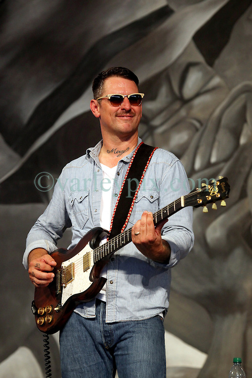 27 April 2012. New Orleans, Louisiana,  USA. .New Orleans Jazz and Heritage Festival. .Eric Lindell takes to the Blues tent..Photo; Charlie Varley.