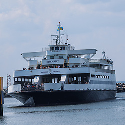 Lewes, DE / USA - June 24, 2013: Arrival of the Cape May - Lewes Ferry at the Lewes, Delaware terminal.