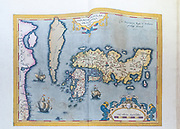 Ancient nautical map depicting the known world at the Joanina Library (Biblioteca Joanina) in Coimbra University, Coimbra, Portugal