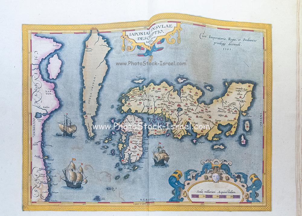 Ancient nautical map depicting the known world at the Joanina Library (Biblioteca Joanina) in Coimbra University, Coimbra, Portugal