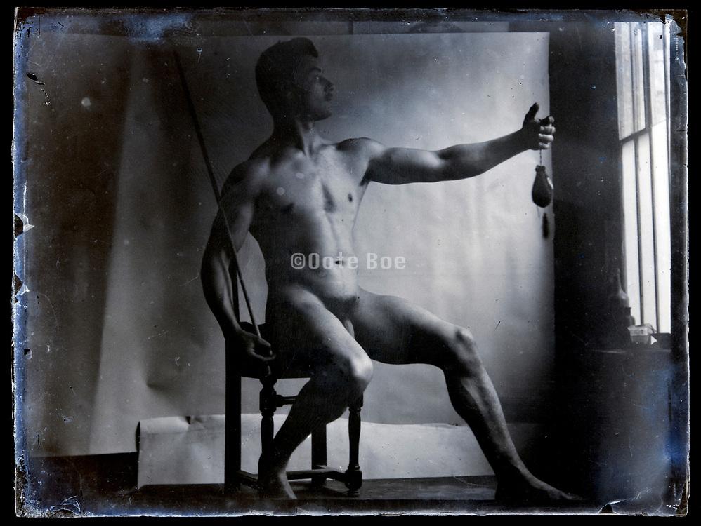 circa 1920s nude male studio classic pose portrait