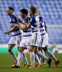 Reading's George Evans (left) celebrates scoring his side's second goal of the game in extra time