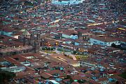 View of city from Saksaywaman, Incan archaelogical site, Cusco, Urubamba Province, Peru