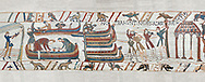 Bayeux Tapestry scene 36: The Normans launch an invasion fleet BYX36 .<br /> <br /> If you prefer you can also buy from our ALAMY PHOTO LIBRARY  Collection visit : https://www.alamy.com/portfolio/paul-williams-funkystock/bayeux-tapestry-medieval-art.html  if you know the scene number you want enter BXY followed bt the scene no into the SEARCH WITHIN GALLERY box  i.e BYX 22 for scene 22)<br /> <br />  Visit our MEDIEVAL ART PHOTO COLLECTIONS for more   photos  to download or buy as prints https://funkystock.photoshelter.com/gallery-collection/Medieval-Middle-Ages-Art-Artefacts-Antiquities-Pictures-Images-of/C0000YpKXiAHnG2k