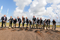 Event photography of a group including NRG Energy CEO David Crane, Daniel Poneman, United States Deputy Secretary of Energy, Shunsaku Miyake, JX Nippon president and CEO, Texas Lieutenant Governor David Dewhurst and Jeff Hildebrand, CEO of Hilcorp seen at the Petra Nova Groundbreaking Event at the W. A. Parish power plant in rural Fort Bend County, TX. The Petra Nova Carbon Capture site is what will be the world's largest post-combustion carbon capture-enhanced oil recovery project.