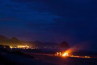 Bonfire at the beach in Cannon Beach, OR.