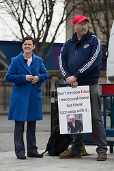 "© Licensed to London News Pictures . 24/03/2018. Birmingham, UK. For Britain party leader ANNE-MARIE WATERS at a Football Lads Alliance demonstration against Islam and extremism in Birmingham City Centre , standing next to a man holding a placard reading "" Don't mention Islam "" . Offshoot group, The True Democratic Football Lads Alliance, also hold a separate demonstration . Photo credit: Joel Goodman/LNP"