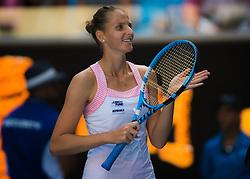 January 21, 2019 - Melbourne, AUSTRALIA - Karolina Pliskova of the Czech Republic celebrates winning her fourth-round match at the 2019 Australian Open Grand Slam tennis tournament (Credit Image: © AFP7 via ZUMA Wire)