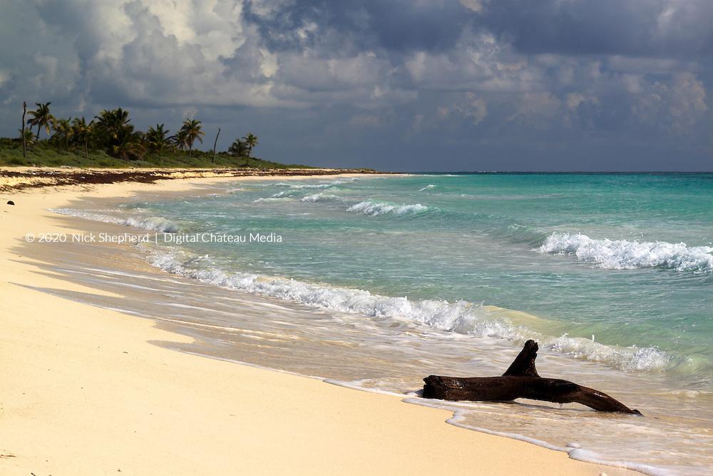 A deserted beach near Punta Allen, Mexico.