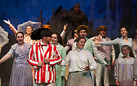 """Chris Fernandez as Bert and Kellie Powers as Mary Poppins with the cast on stage during the park scene of """"Mary Poppins"""" with The Streetcar Company on Monday evening.  (Karen Bobotas/for the Laconia Daily Sun)"""