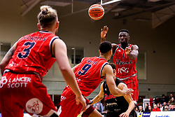 Daniel Edozie of Bristol Flyers passes the ball - Photo mandatory by-line: Robbie Stephenson/JMP - 11/01/2019 - BASKETBALL - Leicester Sports Arena - Leicester, England - Leicester Riders v Bristol Flyers - British Basketball League Championship