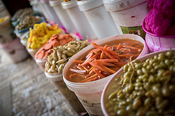2 March 2020, Hebron: Food for sale in the Souq area of the Old City in Hebron.