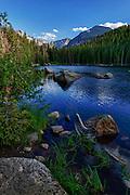 USA, Colorado, Rocky Mountain National Park, Bear Lake, digital composite, HDR