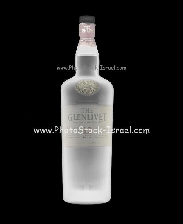 A bottle of Glenlivet whiskey 12 years under x-ray