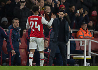 Football - 2019 /2020 FA Cup - Third Round: Arsenal vs. Leeds United.<br /> <br /> Mikel Arteta, Manager of Arsenal FC, congratulates match winner Reiss Nelson (Arsenal FC) as he is substituted at the Emirates Stadium<br /> <br /> COLORSPORT/DANIEL BEARHAM